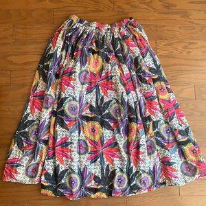 Vintage Gauzy Bohemian Floral Circle Skirt OS